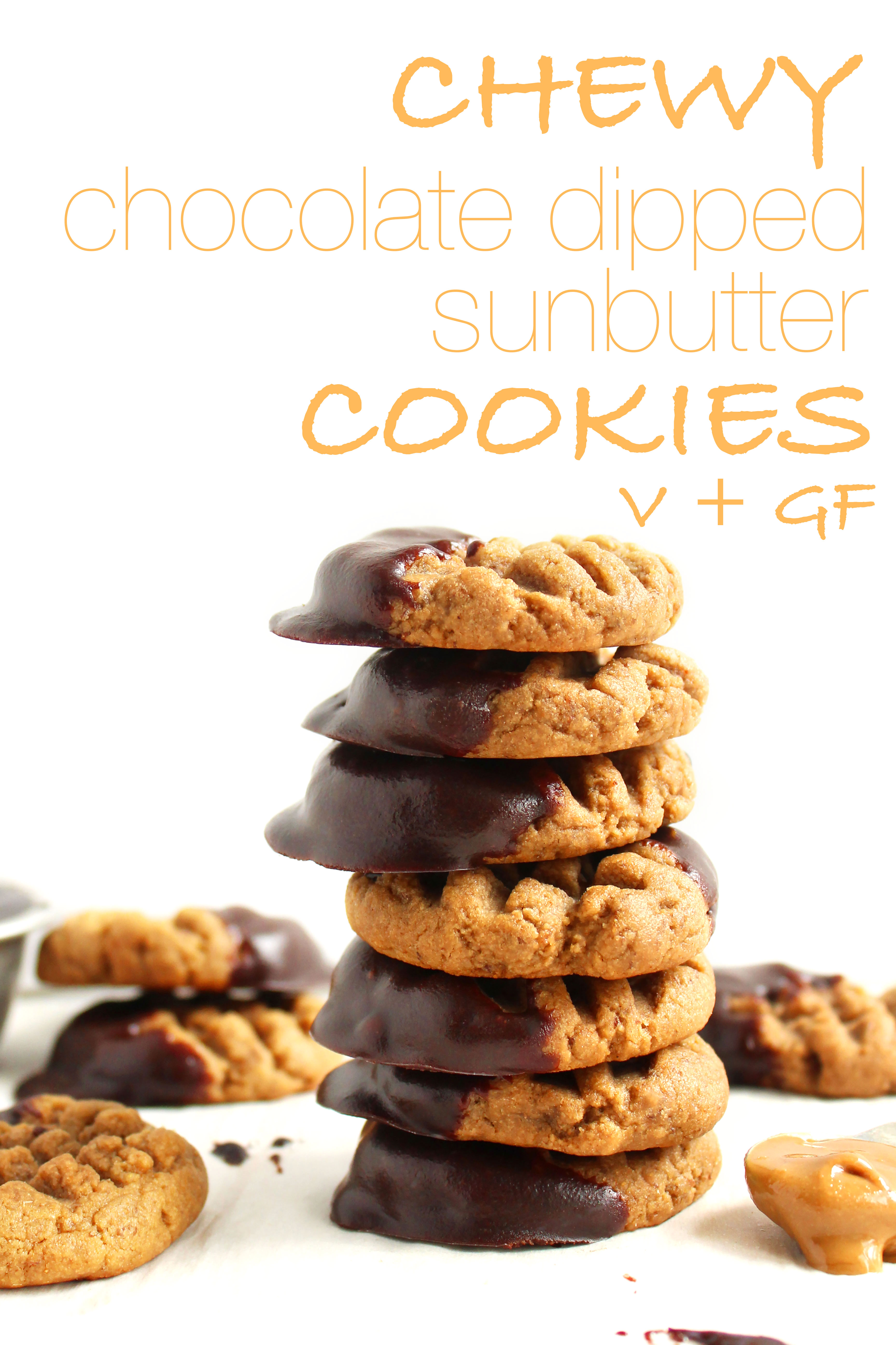 Chewy Chocolate Dipped Sunbutter Cookies (V + GF)! SUPER chewy, peanut-buttery, and delicious! Will cure any peanut butter/chocolate craving! #vegan #glutenfree #cookies | Peachandthecobbler.com