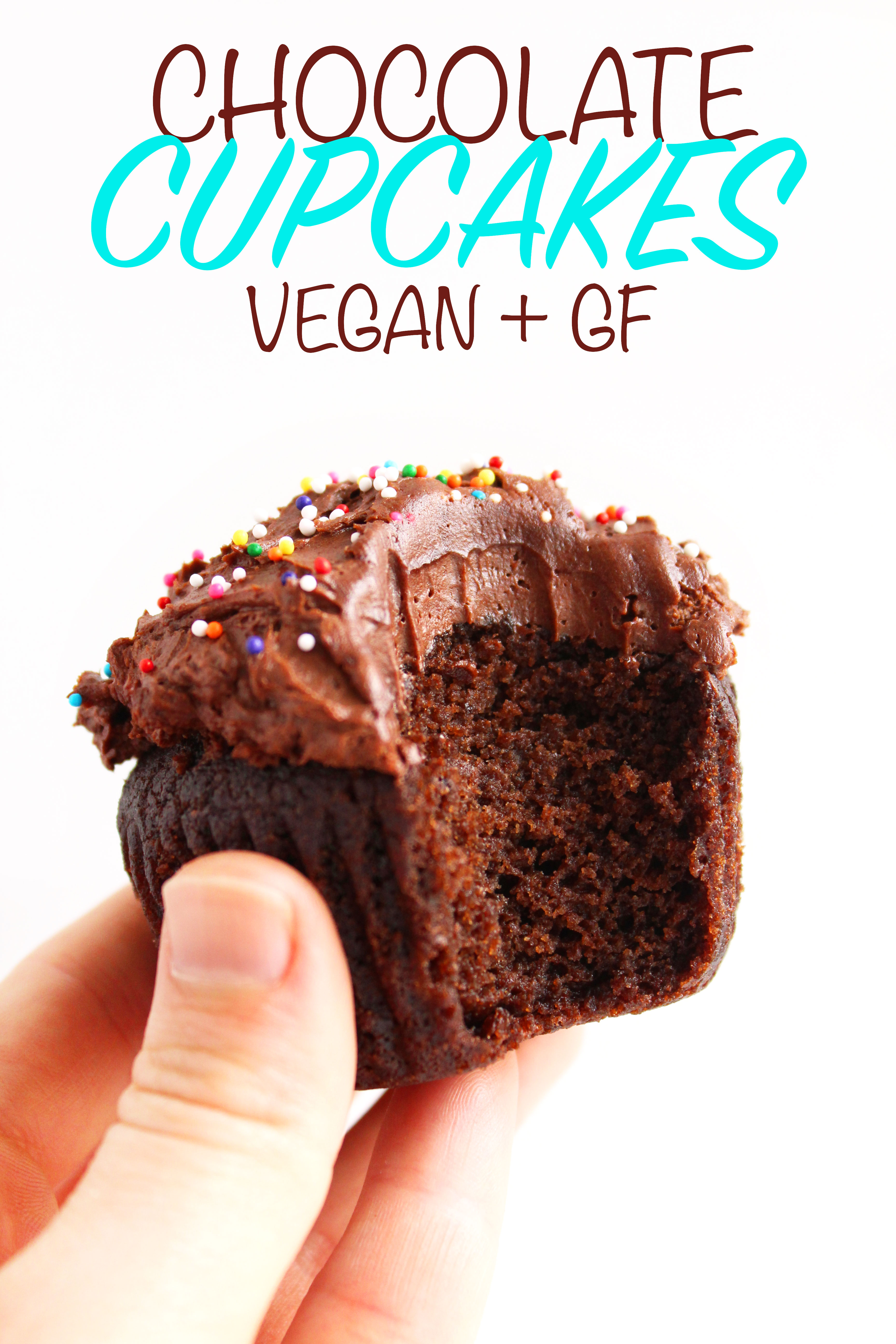 Vegan Chocolate Cupcakes (GF)! A cupcake worthy of a celebration - super chocolatey, moist, & topped with a to-die-for fudge frosting! #vegan #glutenfree #cupcakes | Peachandthecobbler.com